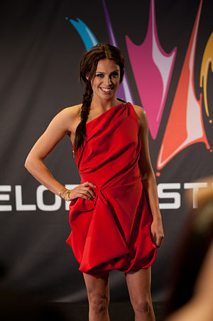 Sara Lumholdt - Lumholdt at a press conference for the 2011 Melodifestivalen