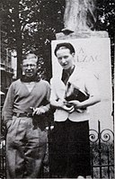 Sartre and de Beauvoir at Balzac Memorial