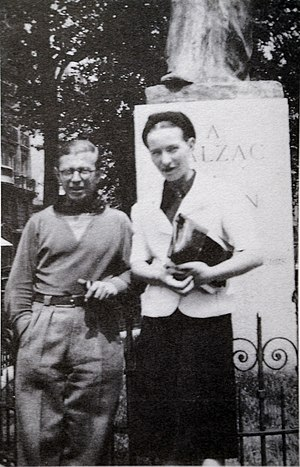 Existentialism - French philosophers Jean-Paul Sartre and Simone de Beauvoir