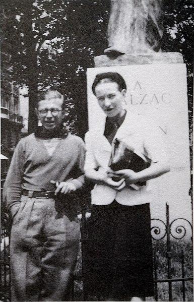 File:Sartre and de Beauvoir at Balzac Memorial.jpg