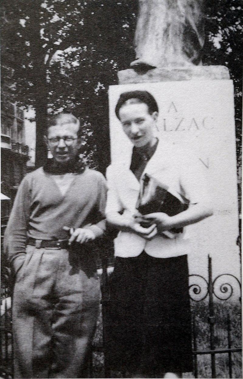Sartre and de Beauvoir at Balzac Memorial.jpg