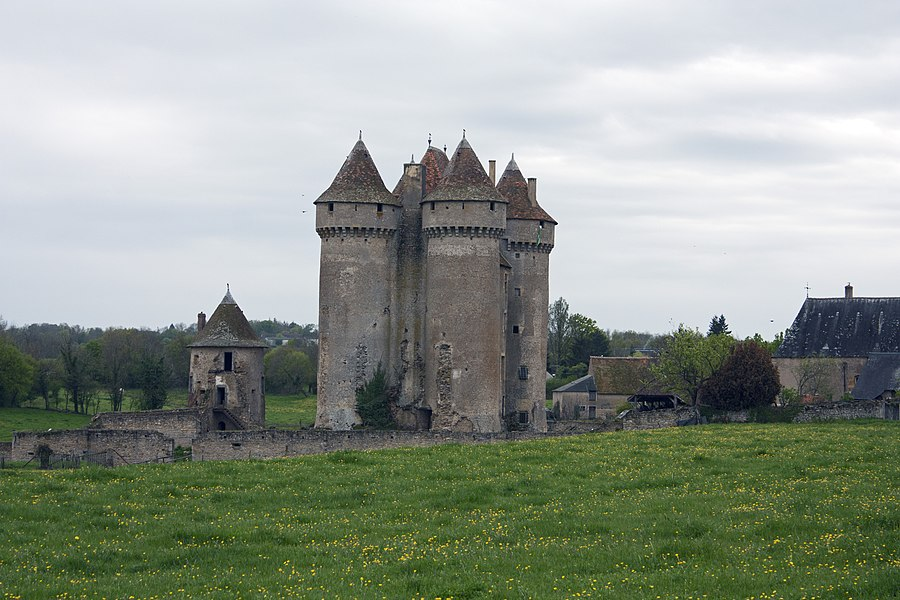 English:  Castle of Sarzay, seen from the road to Santiago at the entrance of the village.