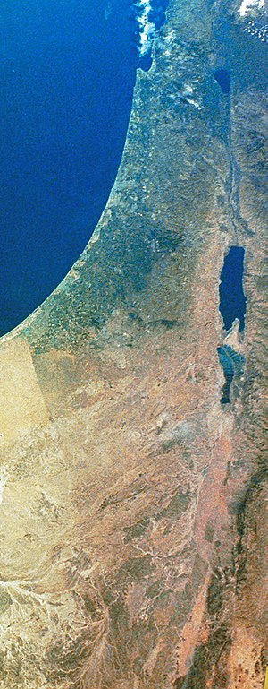 Timeline of the history of the region of Palestine - Satellite image of the Israel region from 2003