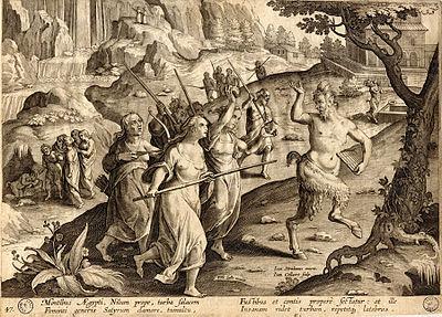 Satyre poursuivi (Gravure du XVIe siècle).