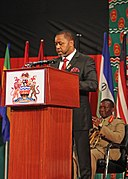 Saulos Klaus Chilima, vice president of Malawi speaks during the African Land Forces Summit 2017.jpg