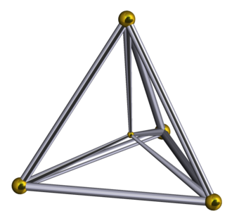 Polytope - The 5-cell (4-simplex) is self-dual with 5 vertices and 5 tetrahedral cells.