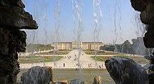 Schoenbrunn Palace as seen from Neptune Fountain, September 2016.jpg