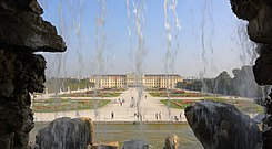 Schoenbrunn Palace as seen from Neptune Fountain, September 2016.jpg