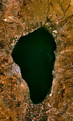 Sea of Galilee - satellite view of The Sea of Galilee