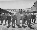 Secretary of War Henry Stimson (center) walks with Gen. Floyd L. Parks at Gatow Airport in Berlin, Germany where Mr.... - NARA - 198861.tif