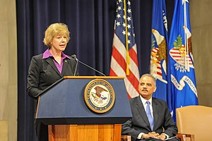 Tammy Baldwin - US Senator Tammy Baldwin from Wisconsin speaking at a US Department of Justice event.