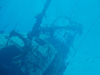 Archaeology of shipwrecks - The wreck of the Severance, a modern wreck with rigging intact.