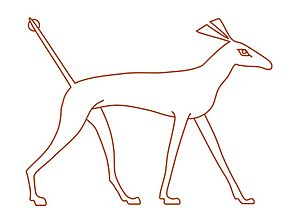 "Line drawing of the ""sha"" animal, ba..."