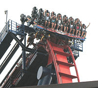 One of SheiKra's trains going over the drop