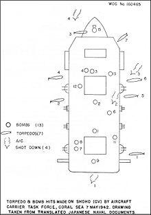 Schéma de navire localisant six impacts de torpilles et treize impacts de bombes