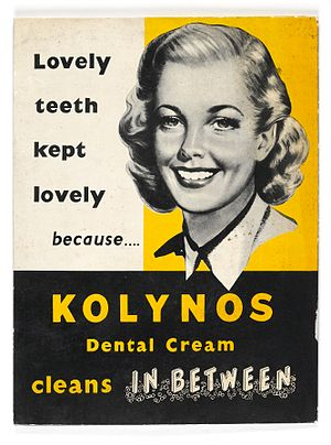 Toothpaste - Promotional poster for the Kolynos toothpaste from the 1940s