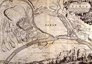 Siege of Namur (1692) - Contemporary plan of the Siege of Namur 1692 (shown here with the river Meuse running south–north).