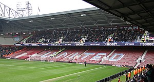 Trevor Brooking - Millwall fans segregated in the upper tier of The Sir Trevor Brooking Stand