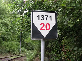 Grade (slope) - A 1371-metre long stretch of railroad with a 20‰ (2%) slope, Czech Republic