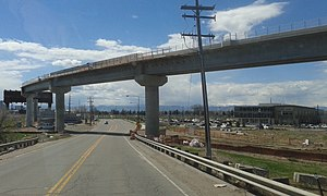 N Line (RTD) - Skyway Bridge over Brighton Blvd during construction.