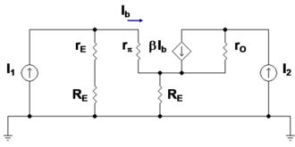 Two-port network -  Figure 4: Small-signal bipolar current mirror: I1 is the amplitude of the small-signal reference current and I2 is the amplitude of the small-signal output current