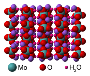 Sodium molybdate - Image: Sodium molybdate dihydrate xtal 3D vd W labelled