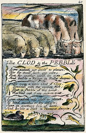 The Clod and the Pebble -  The Clod and the Pebble from Copy L of Songs of Innocence and of Experience held by the Yale Center for British Art.