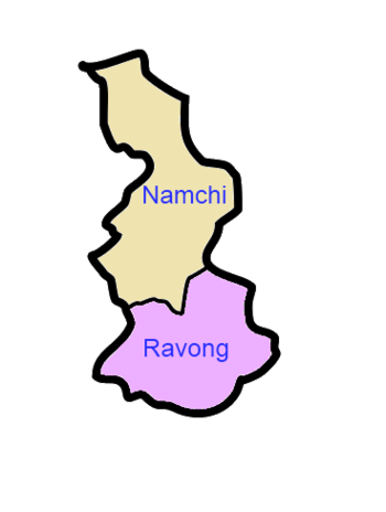 A clickable map of South Sikkim exhibiting its two subdivisions.