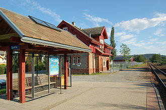 Sparbu - View of the railway station in the village