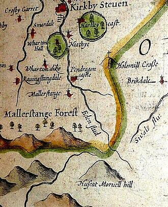 "Mallerstang - Mallerstang (showing Hugh Seat as ""Huseat Morvel hill""); from 1610 map of Westmorland by John Speede"
