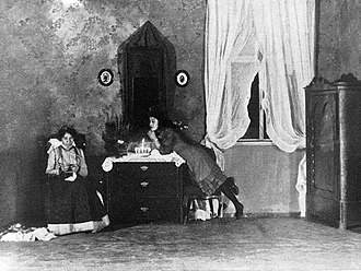 Spring Awakening (play) - Scene from the 1917 English-language premiere in New York City, starring Fania Marinoff (right)