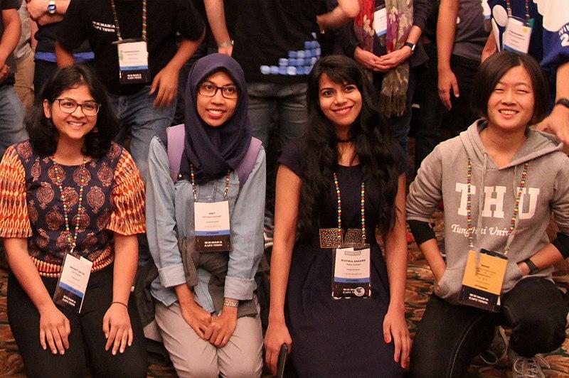 Srishti Sethi, Amy, Rupika Sharma & Who, Asian Wikimedians meetup at Wikimania 2018 (01)