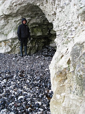 Cliffs of Sangstrup - Waves have eroded a number of caves into the cliffs