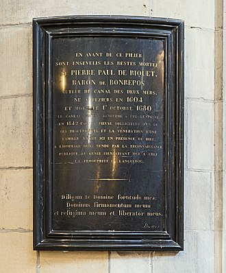 Pierre-Paul Riquet - Stele in Toulouse Cathedral