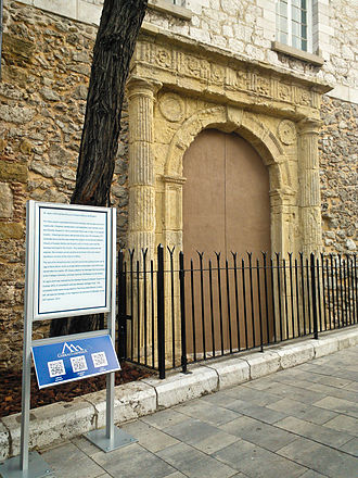St. Jago's Arch - St. Jago's Arch in Gibraltar with interpretation panel