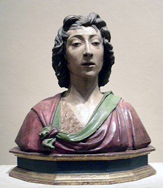 Benedetto da Maiano - St. John the Baptist, polychrome terra cotta of c. 1480, in the National Gallery of Art.