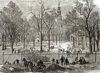 St. John's Park - A print of St. John's Park in the winter of 1866, the year it was sold to be replaced by a railroad freight depot. St. John's Chapel can be seen in the background.