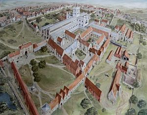 St Albans Cathedral - St Albans Abbey in the state before dissolution. Painting: Joan Freeman
