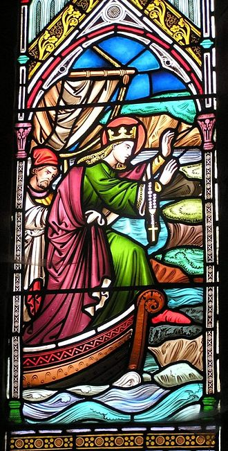 St Bees Priory - Window showing the arrival of St Bega at St Bees