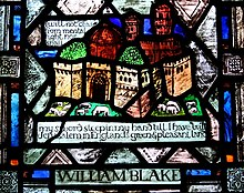 A multicoloured stained glass window, depicting a castle surrounded by fields of sheep. It is captioned with poetry by William Blake.