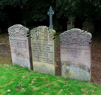 St Mary's Church, Eccleston - Grosvenor family graves: Hugh Frederick (1927–1947), his mother Doris (1902–1975) and his father Robin (1895–1953), a grandson of the 1st Duke of Westminster