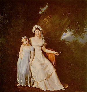 Benjamin Constant - Painting by Marguerite Gérard, Mme de Staël et sa fille (around 1805); de Staël was Constant's partner and intellectual collaborator