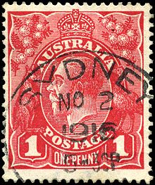 1d King George V Used At Sydney In 1916