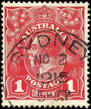 Postage stamps and postal history of Australia - 1d King George V, used at Sydney in 1916