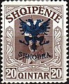 Stamp of Albania - 1920 - Colnect 182237 - Unissued portrait of Prince zu Wied overprinted in blue.jpeg