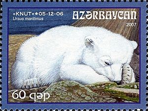 Knut (polar bear) - Azerbaijan stamp commemorating the first year of Knut's birth