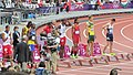 Start of the men's 110m hurdles final (7890486654).jpg
