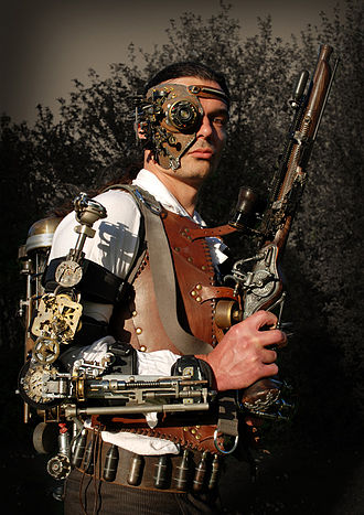 Steampunk - Steampunk outfit with leather vest, heavy gun, vambrace, backpack time machine, mask, and Victorian clothes