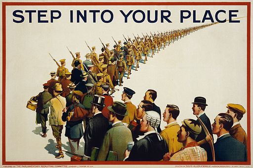 Step into your place, propaganda poster, 1915