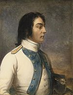 Painting of a man with large eyes and long dark hair looking to the right. He wears a white military uniform with violet lapels.